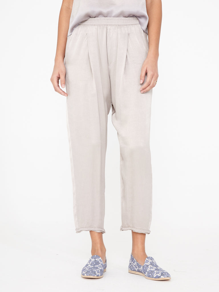 Silver Satin Sweatpant