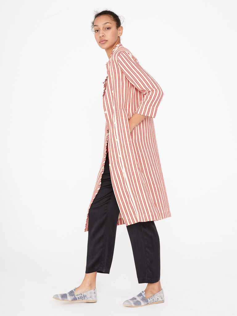 Natural Red Stripe Tailoring Duster Dress