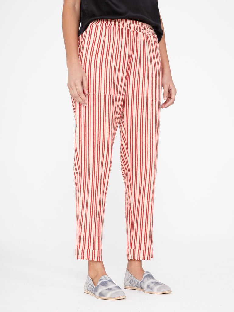 Natural Red Stripe Tailoring Pull On Pant