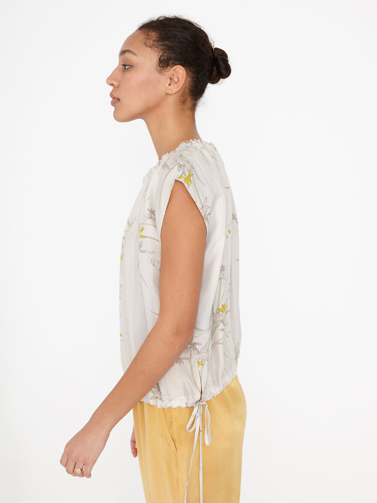 Floral Stripe Kimono Silk Gather Neck Top