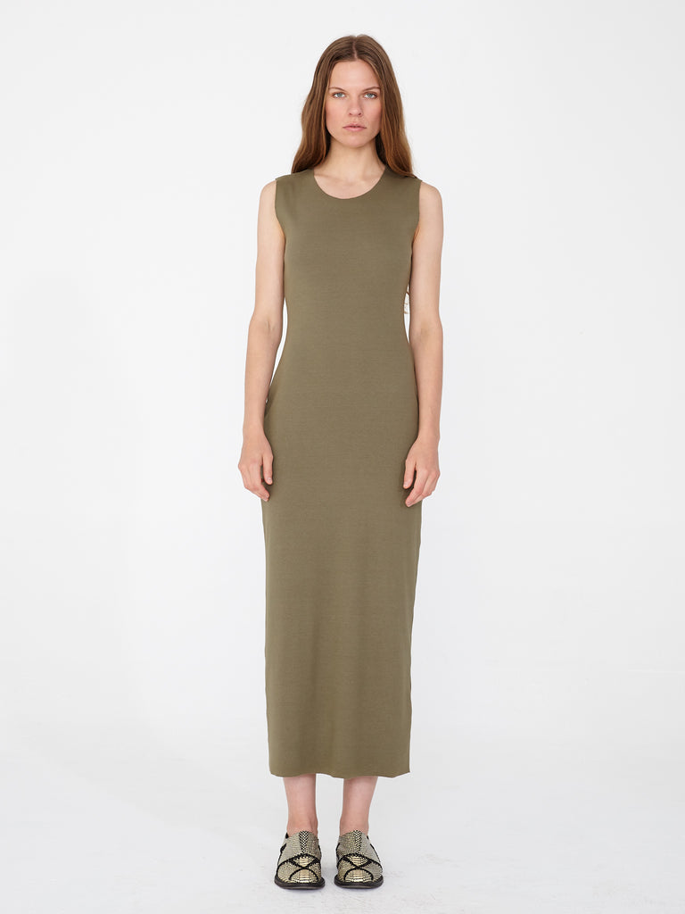Army Rib Layering Maxi Dress
