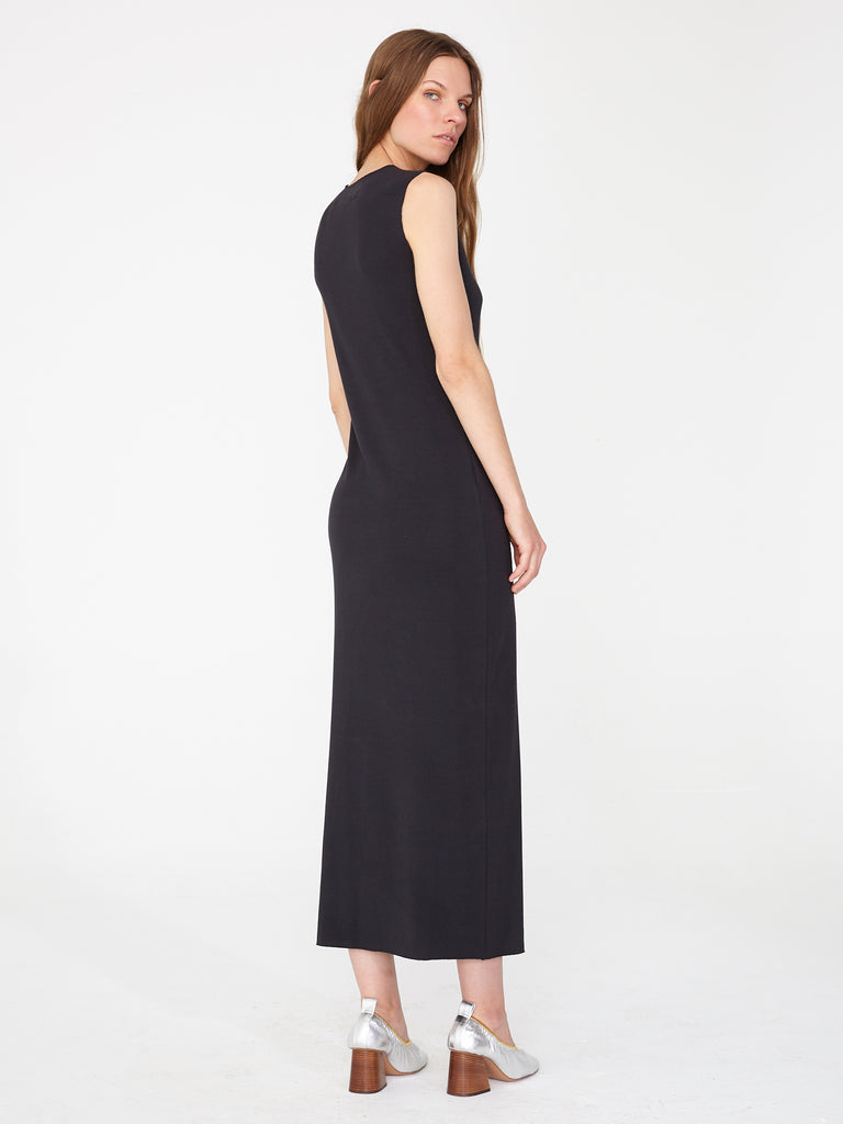 Black Rib Layering Maxi Dress