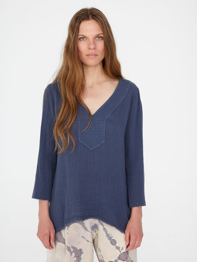 Dusty Blue Gauze Medley Luna Top