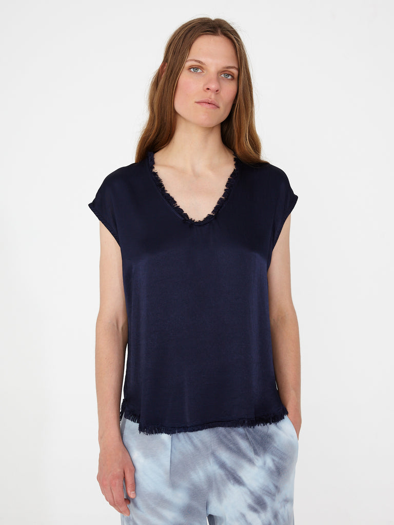 Indigo Pebble Satin Shell Top