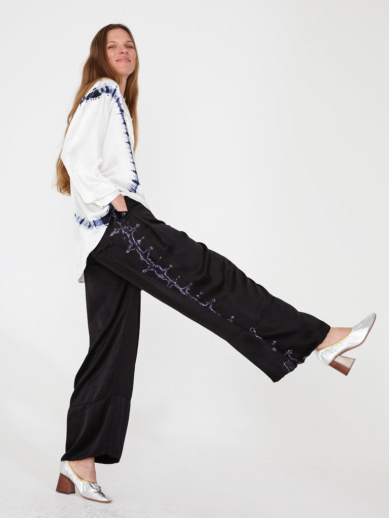 Black Satin Wide Hem Pant