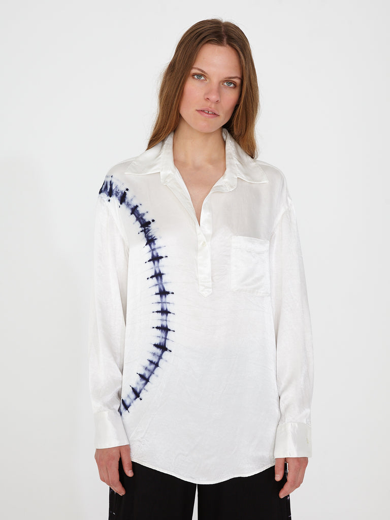 White Satin Relaxed Henley