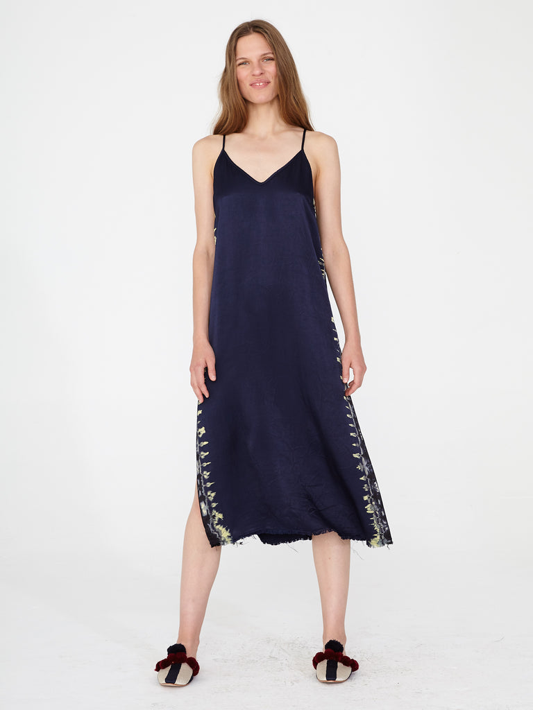 Indigo Satin Little Slip Dress