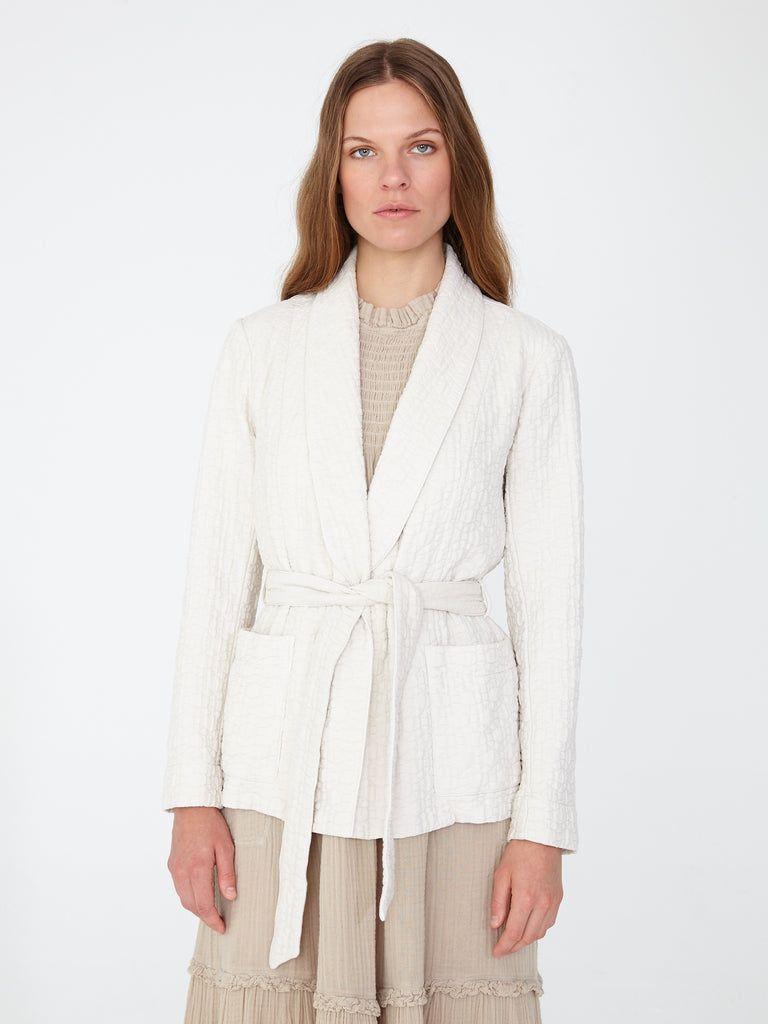 Dusty White Quilted Cotton Belted Blazer
