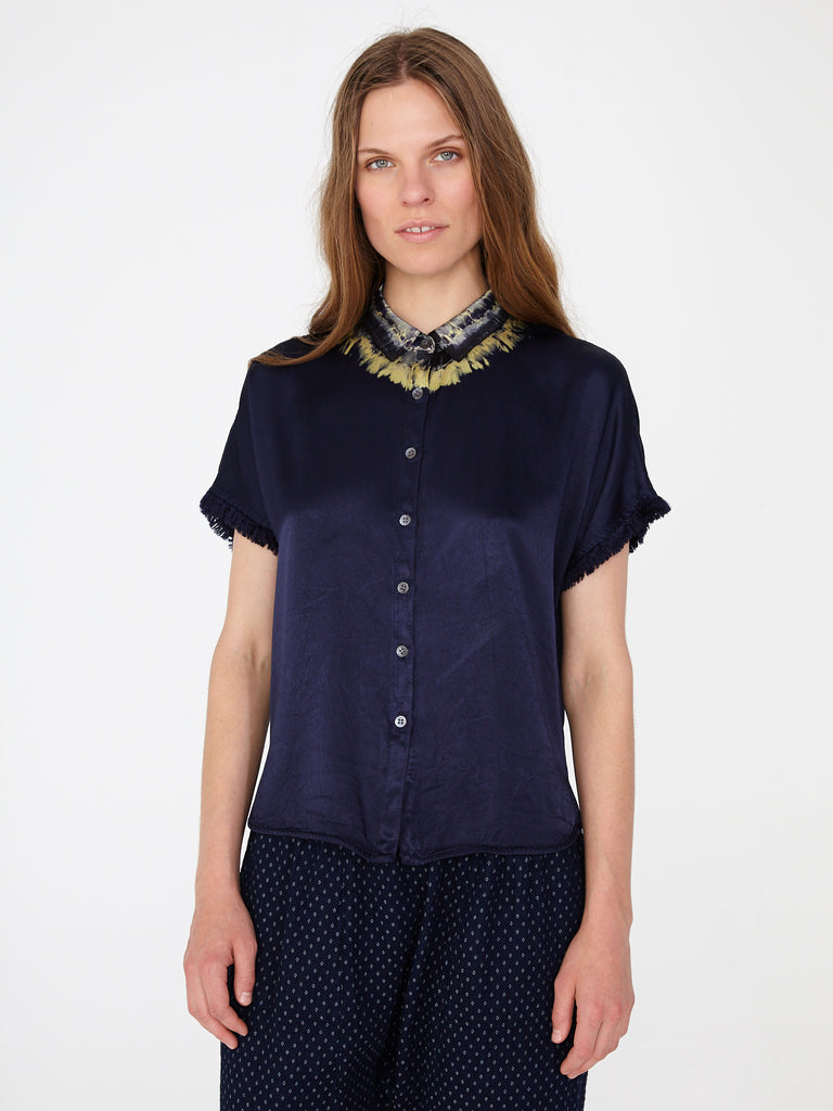 Indigo Satin Little Button Up