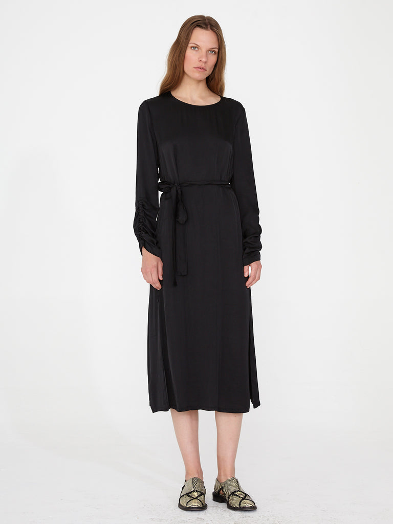 Black Matte Satin Gather Sleeve Dress