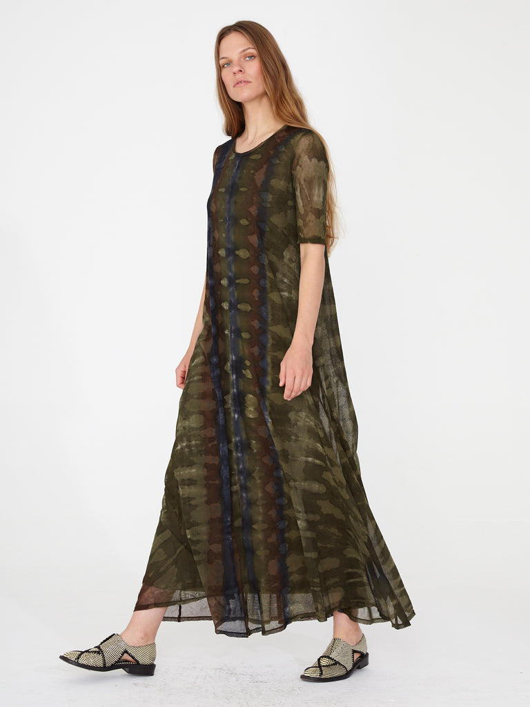 Forest Camo Cotton Mesh Drama Maxi with Rib Layer