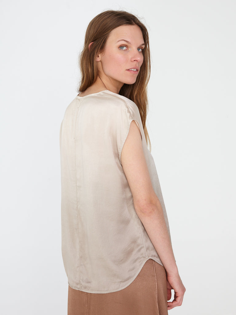 Dusty Sand Charmeuse Perfect Shell Top