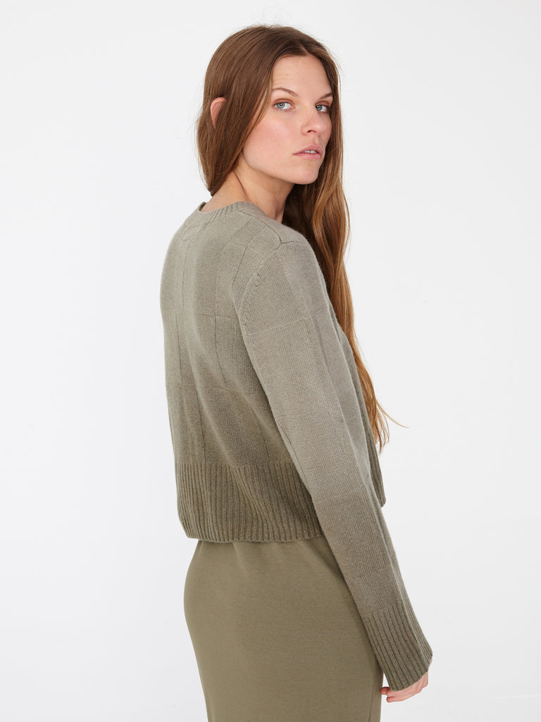Army Cashmere Cropped Crew