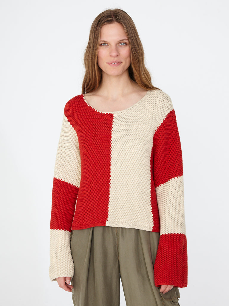 Red Parchment Bold Stripe Boxy Crew