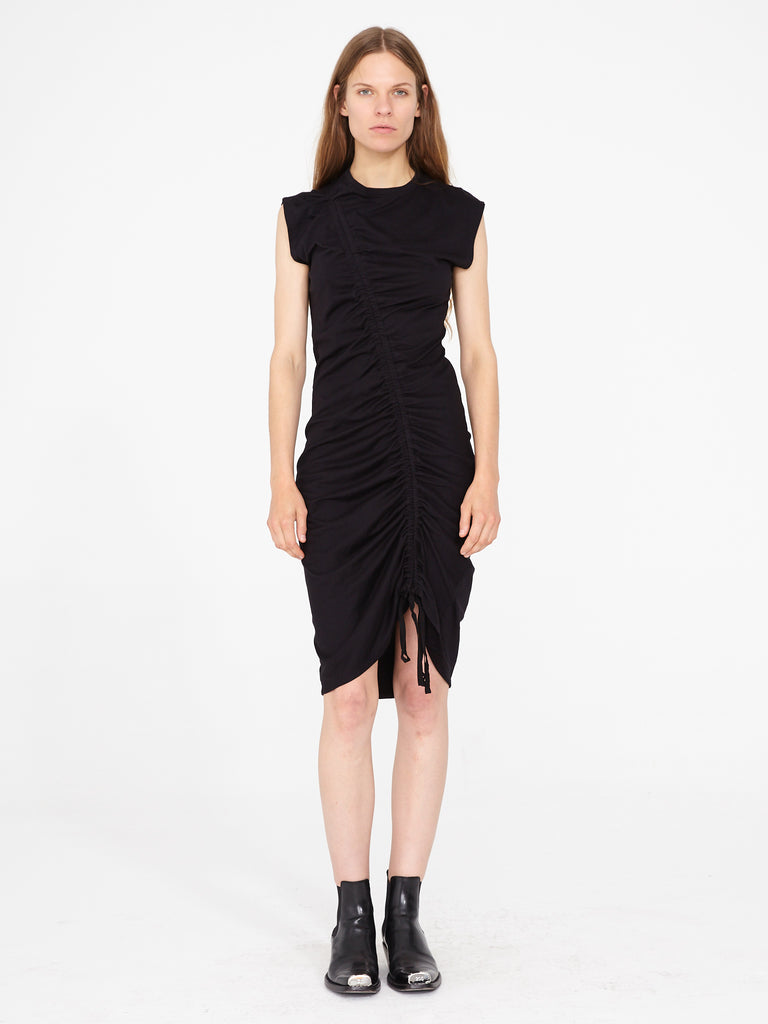 Black Sueded Baby Jersey Gathered Tie Midi Dress
