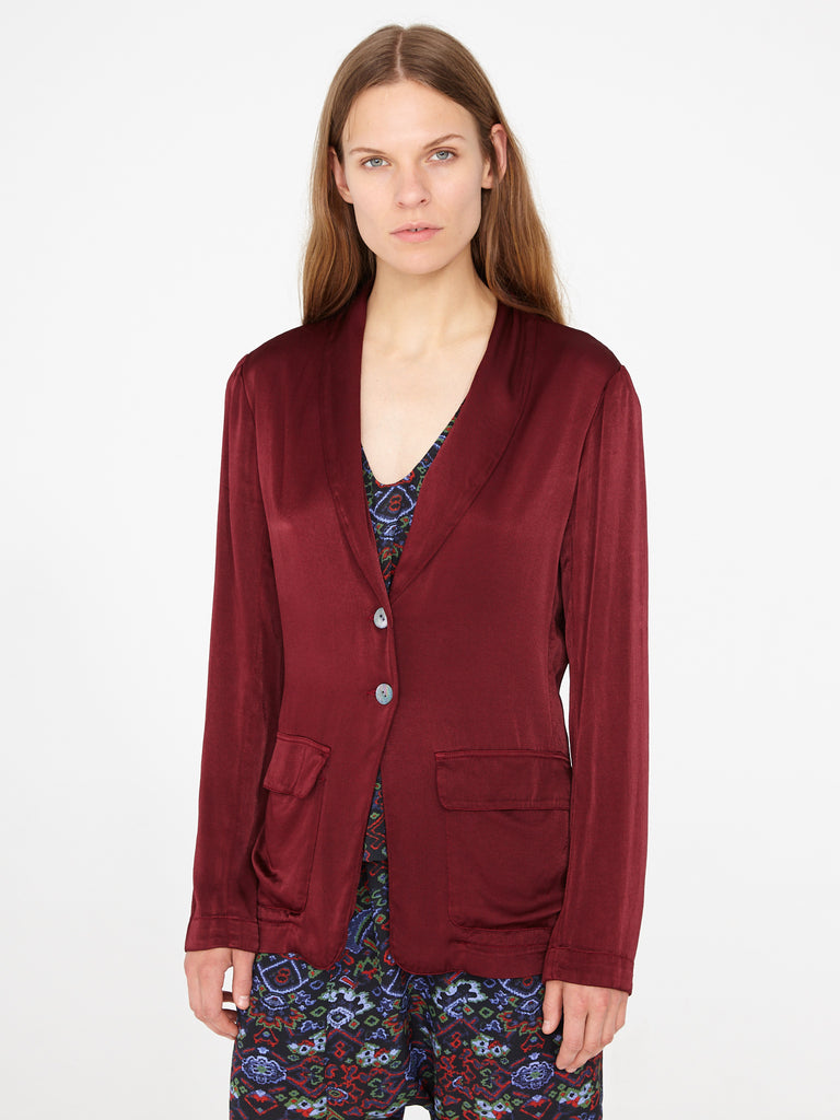 Wine Crepe Satin Shawl Blazer