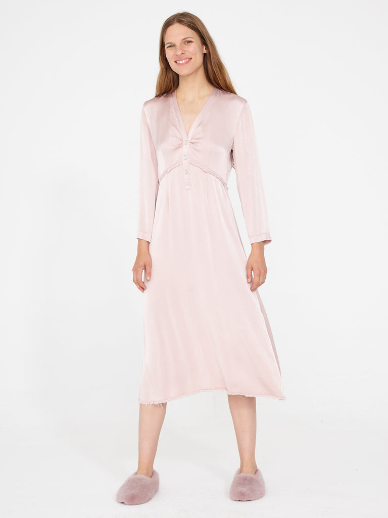 Rose Crepe Satin Camille Dress