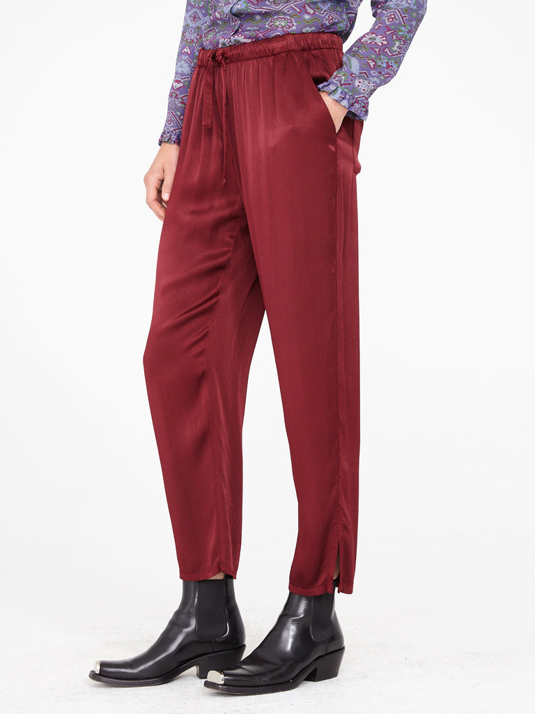 Wine Crepe Satin Drawstring Trouser