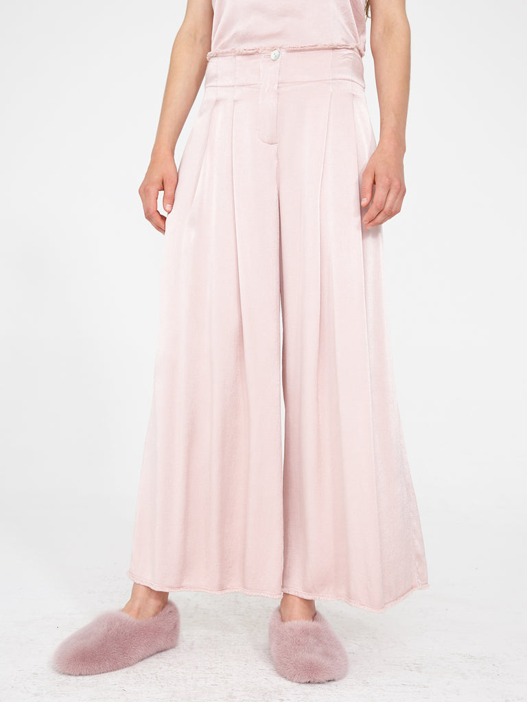 Rose Crepe Satin Pleated Trouser