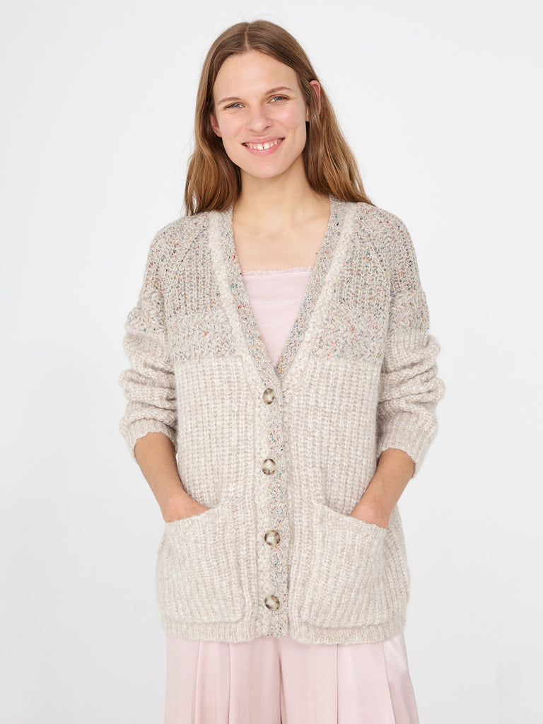 Oatmeal Two Tone Boxy Cardigan