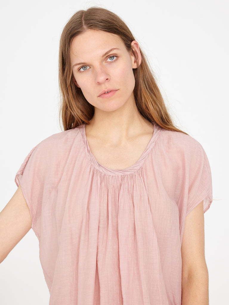Rose Silk Cotton Voile Shirred Sleeveless Top