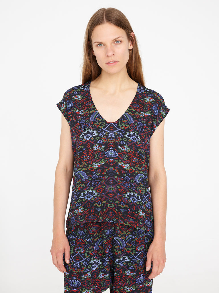Black Tapestry Silk Crepe Shell Top