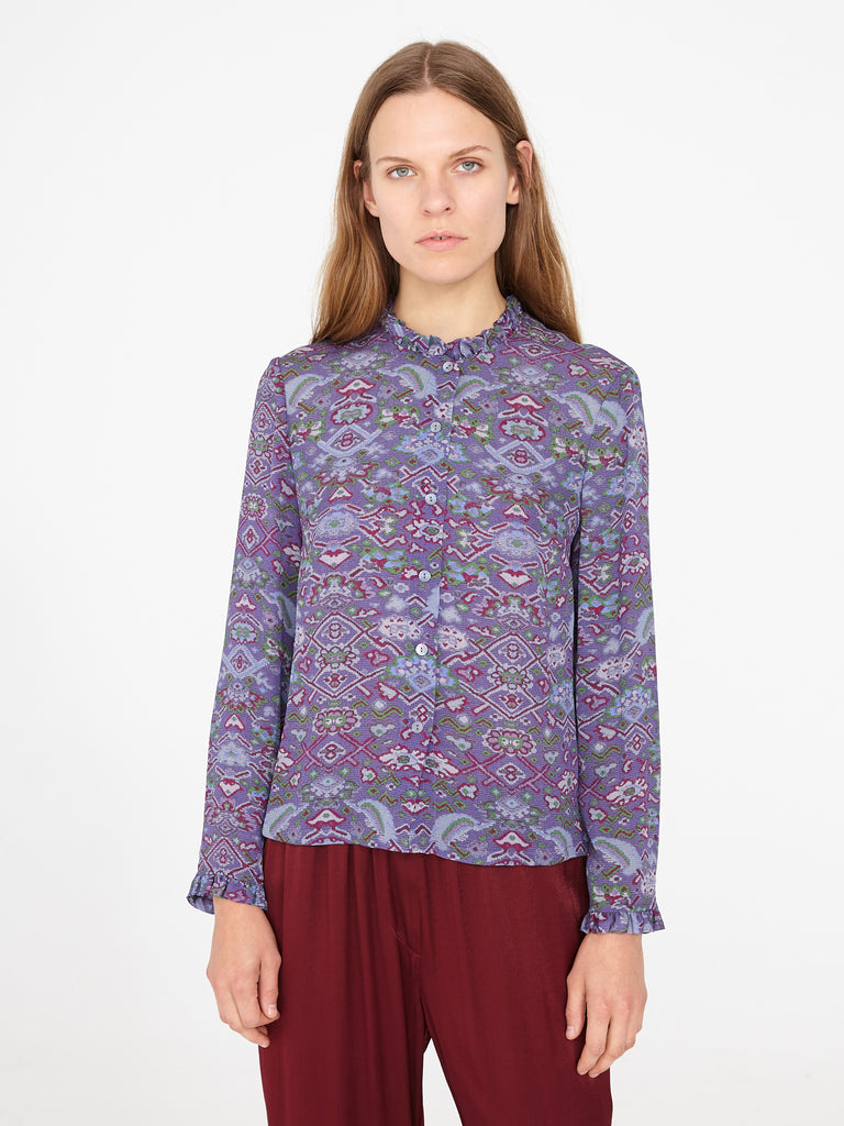 Purple Tapestry Silk Crepe Ruffle Shirt