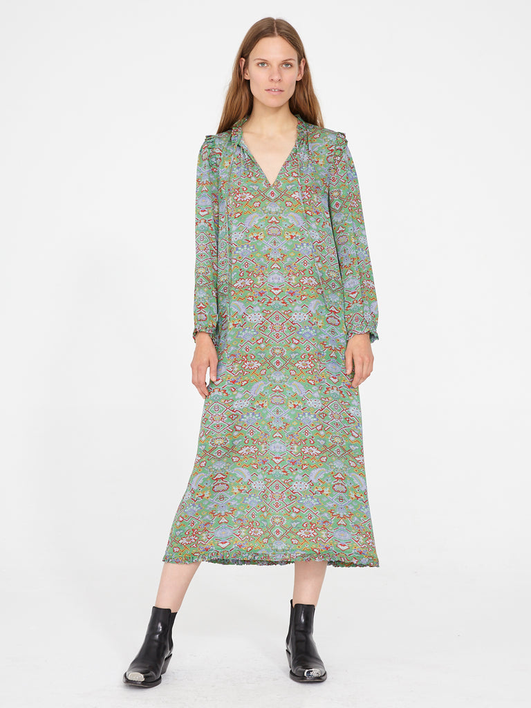 Green Tapestry Silk Crepe Ruffle Dress