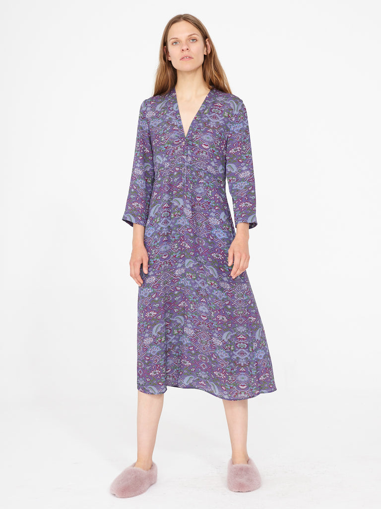 Purple Tapestry Silk Crepe Camille Dress