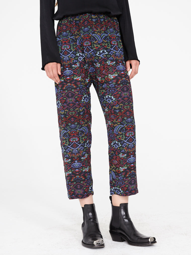 Black Tapestry Silk Crepe Sunday Pant
