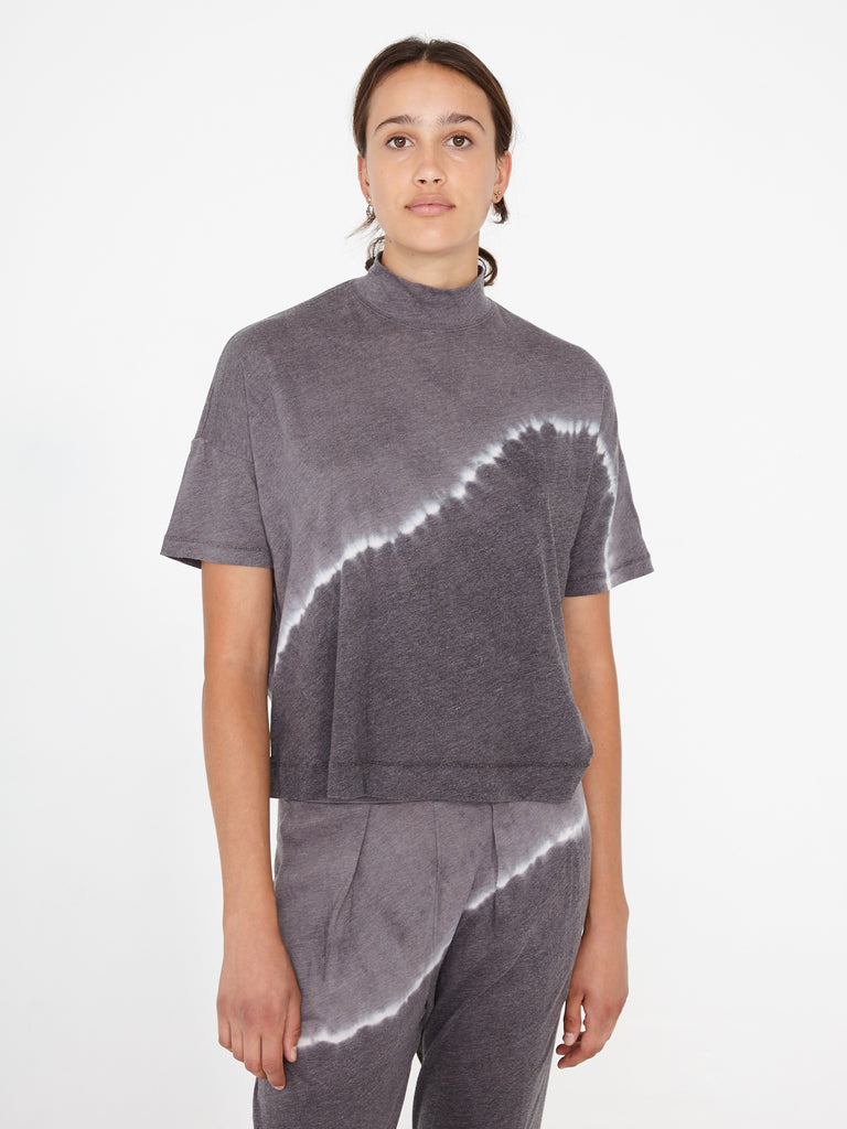 Night Grey Jersey Mock Neck Boxy Top