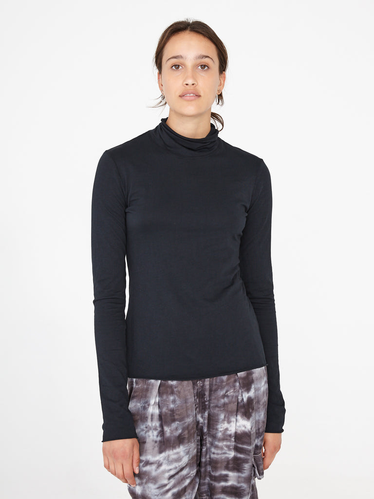 Black Jersey Turtleneck