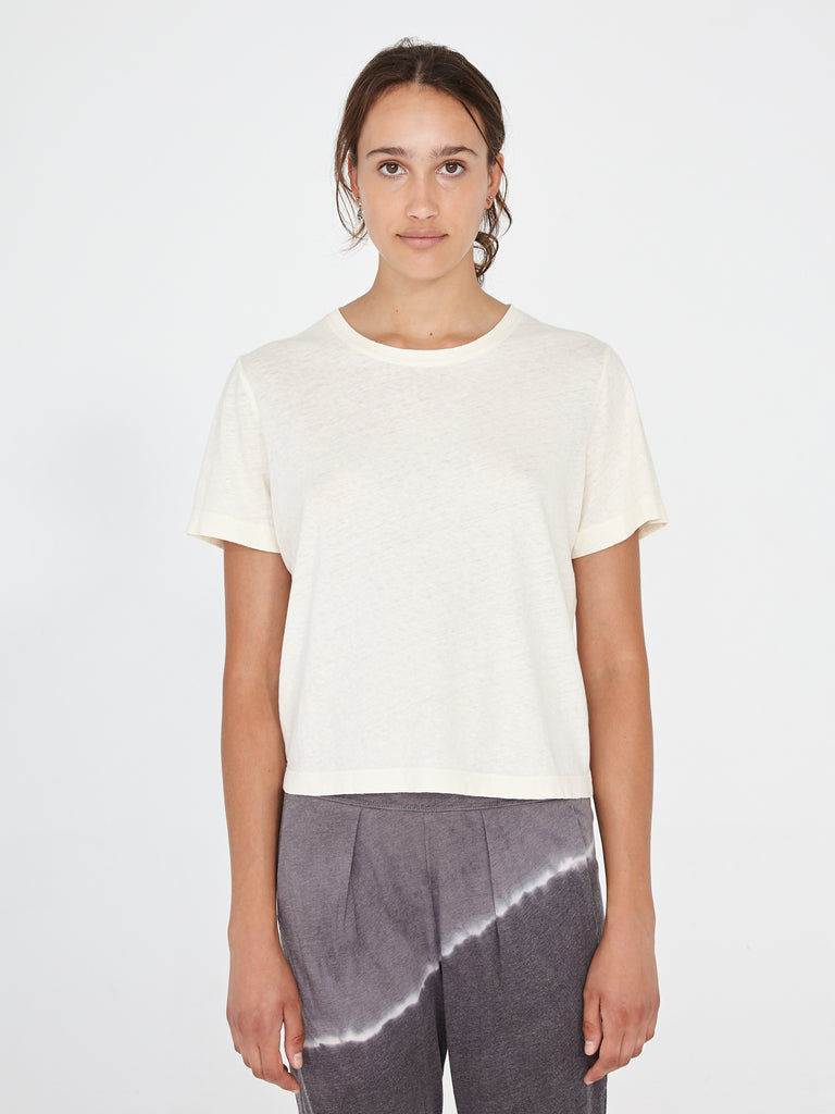 Cream Nubby Cotton Boxy Tee