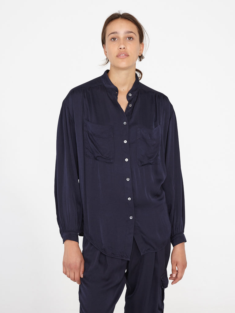 Navy Matte Satin Cargo Blouse