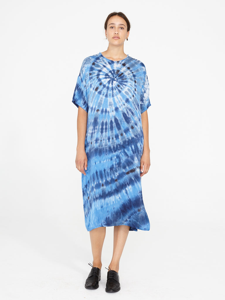 Sea Matte Satin Tie Dye T Shirt Dress