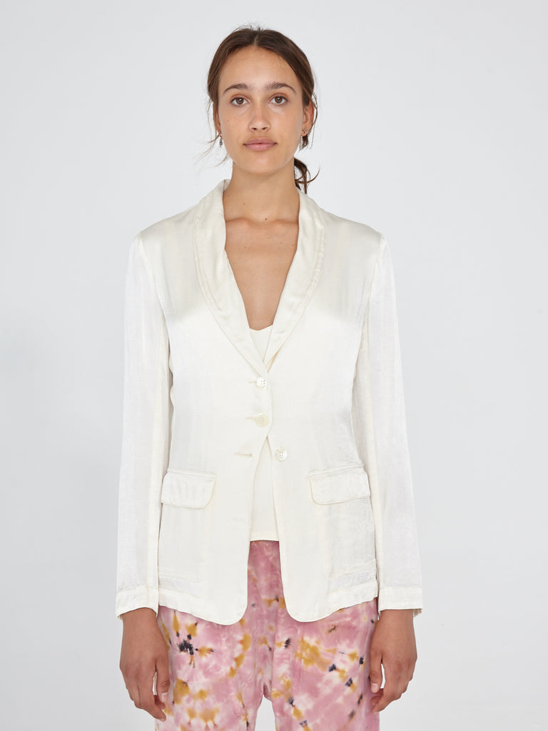 Cream Crepe Satin Slim Shawl Blazer