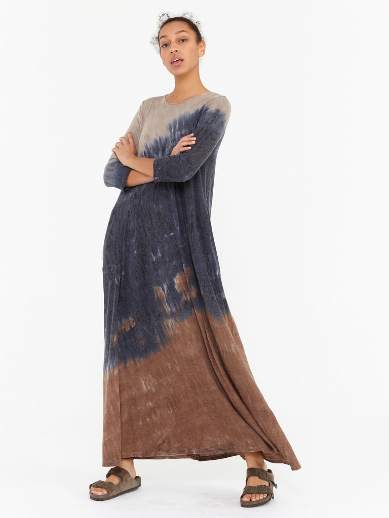 Caves Tie Dye Signature Jersey Half Sleeve Drama Maxi Dress