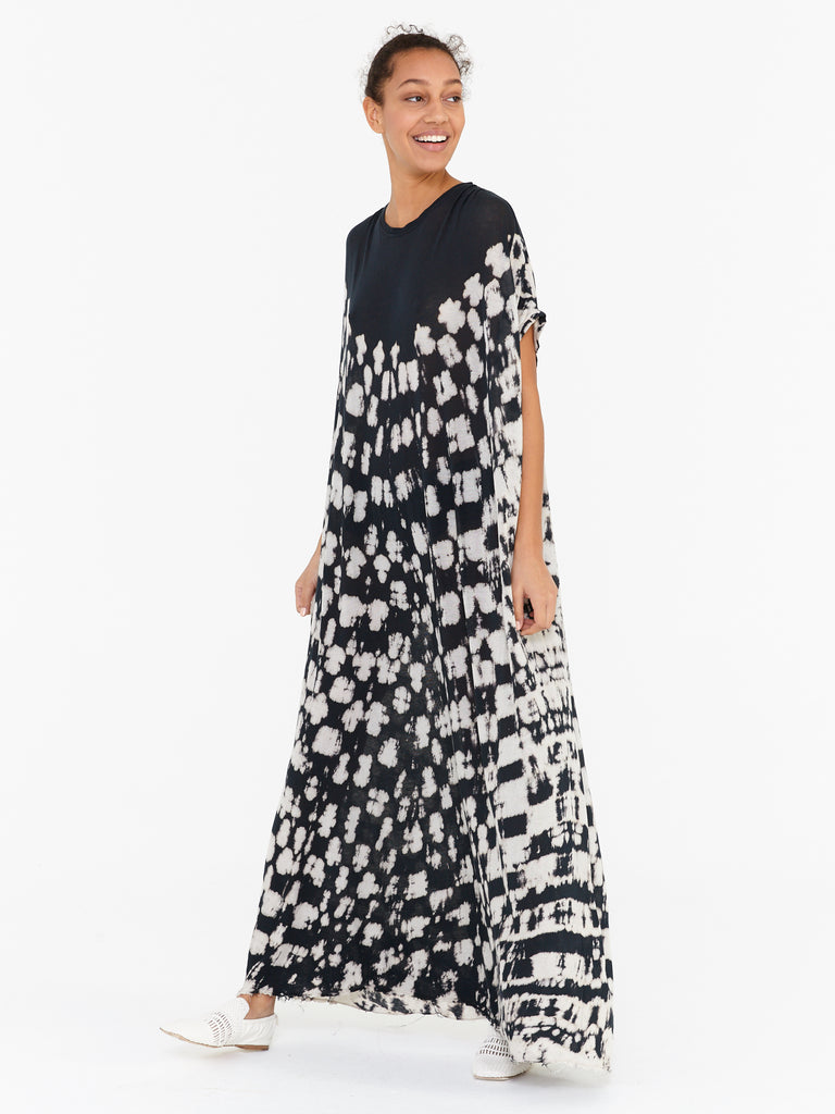 Black Tie Dye Jersey Gathered Caftan Maxi Dress