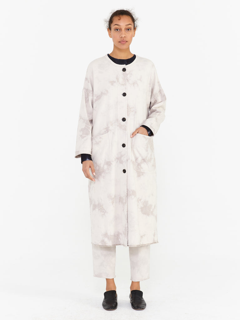 Tea Stain Fleece Tie Dye Duffle Coat