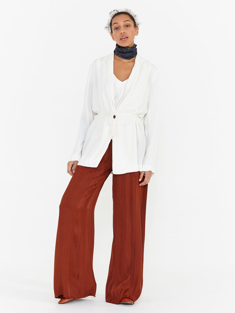 Ivory Stripe Satin Relaxed Blazer