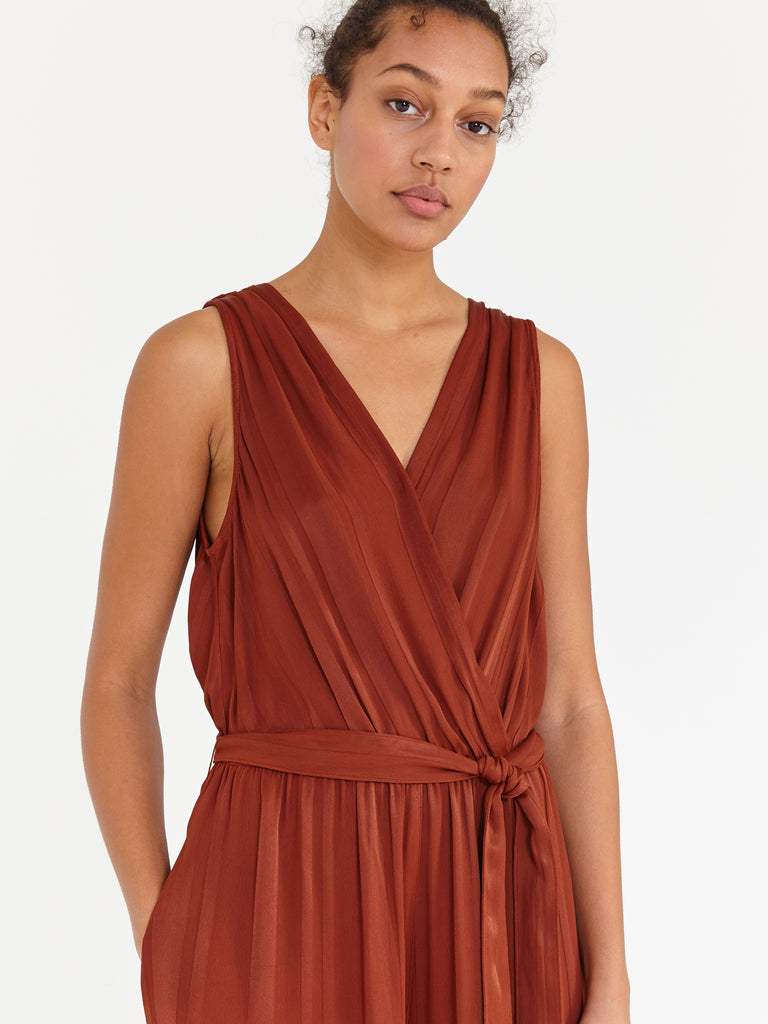Paprika Stripe Satin Jumpsuit
