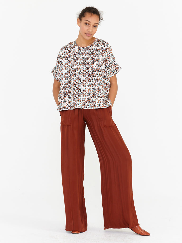 White Brown Silk Twill Short Sleeve Top