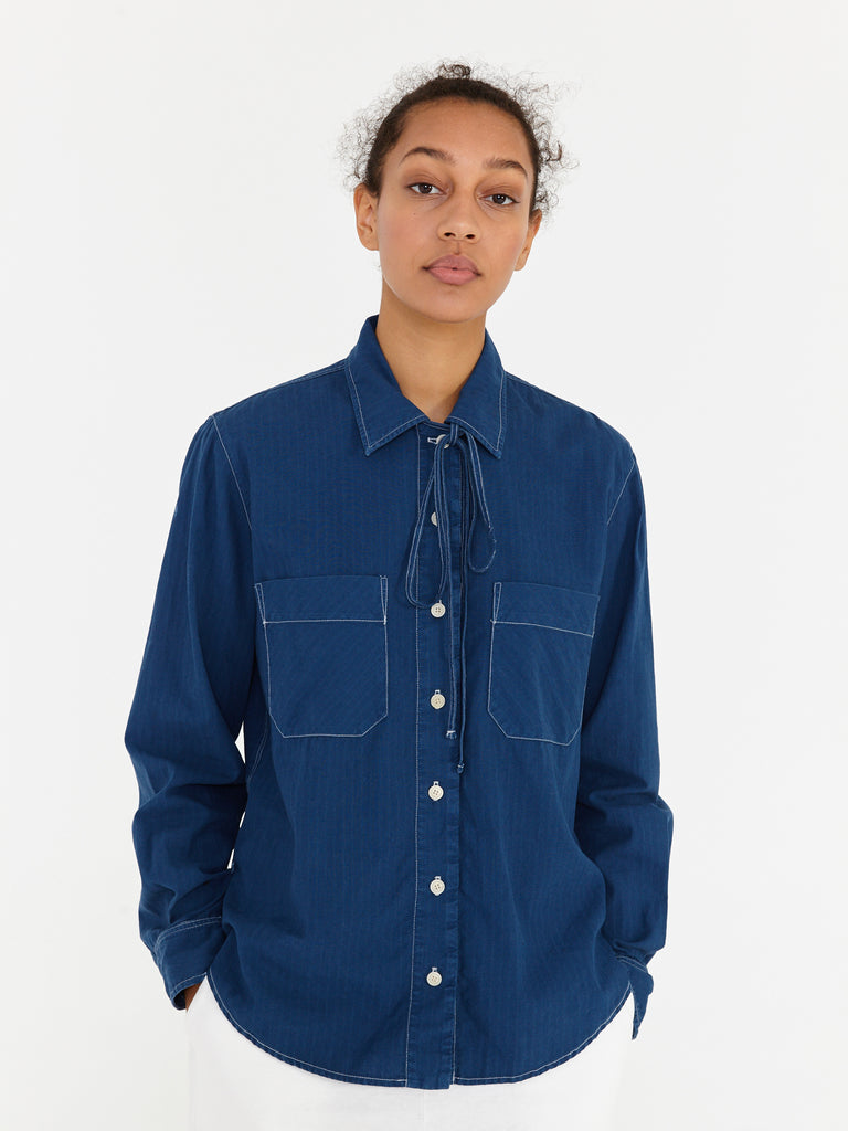 Navy Utility Cotton Stripe Bolero Workshirt