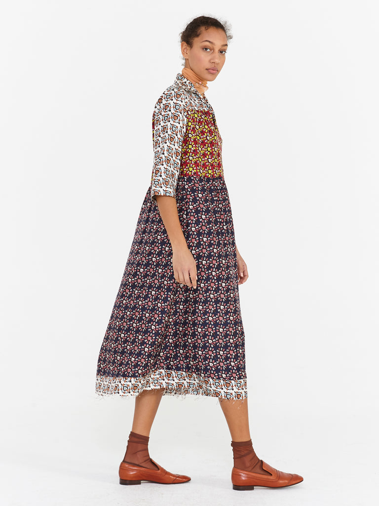Colorblock Silk Twill Tiered Peasant Dress