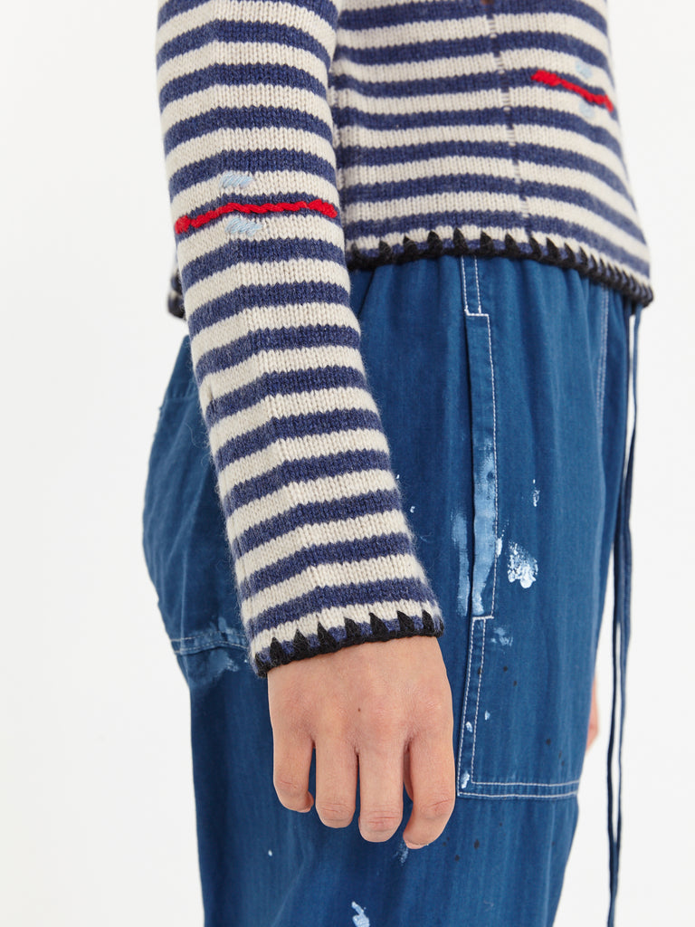 Indigo Cream Stripe Cashmere Crew Neck