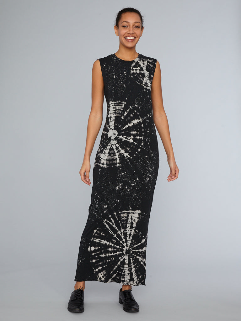 Black Constellation Jersey Muscle Maxi Dress