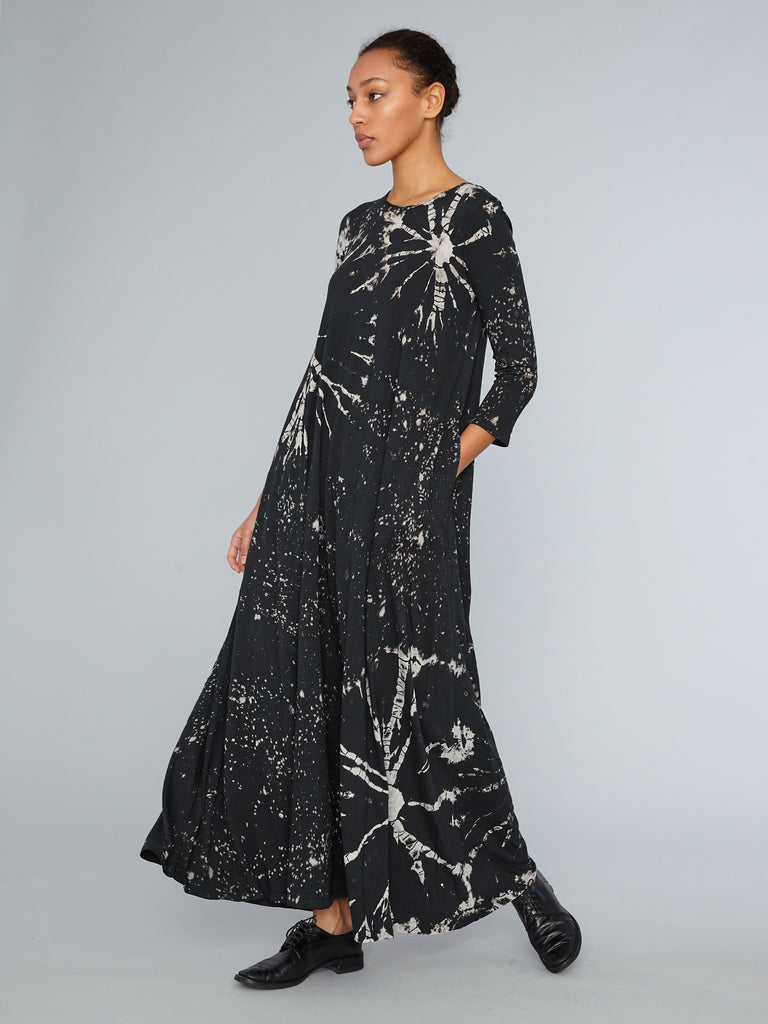 Black Constellation Jersey Half Sleeve Drama Maxi