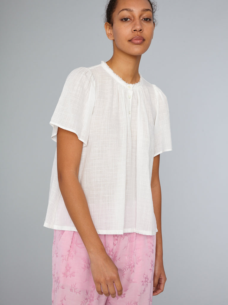 Washed White Herringbone Gauze Flutter Blouse