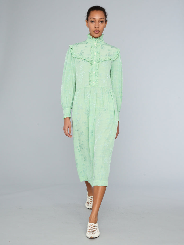 Mint Floral Jacquard Luna Ruffle Dress