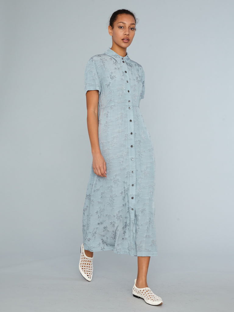 Dusty Blue Floral Jacquard Carina Dress